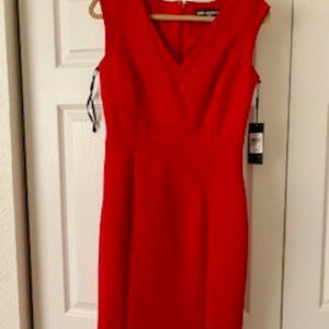 Red Fitted Professional Dress